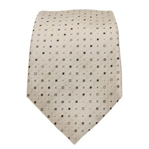 Kenneth Cole White Square Print 100% Silk Tie (OS)